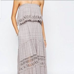 Gypsy 05 Rafia Gauze Strapless Maxi Dress
